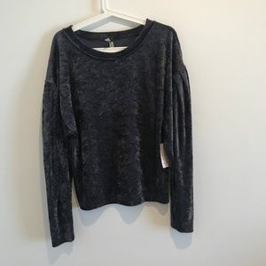 Free People Milan Velvet Long Sleeve sweater xs